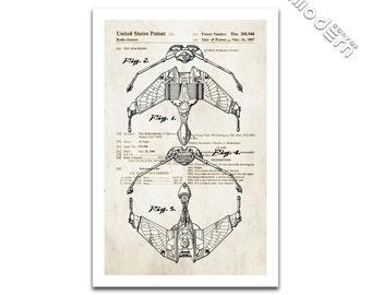 Star Trek Klingon Bird Of Prey Patent Art Giclee on archival matte paper