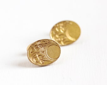 Sale - Antique 10k Rosy Yellow Gold Filled Cuff Links - 1910s Art Nouveau Edwardian Vintage Oval Flower Men's Cufflink Accessory Jewelry