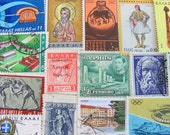 Grecian Love 50 Vintage Postage Stamps Greece Athens Cyprus Kibris Ancient Ruins Hellas Mythology Mediterranean Carthage Worldwide Philately