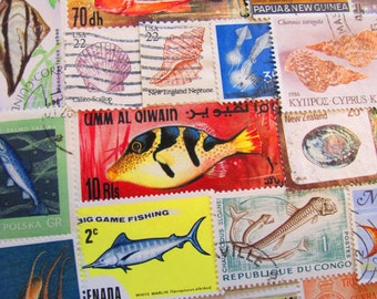 Under The Sea 50 Premium Vintage Sea Creatures Postage Stamps Aquarium Whale Invertebrates Jellyfish Seashell Lobster Fishing Marine Biology