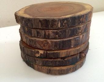 Rustic tree trunk coasters