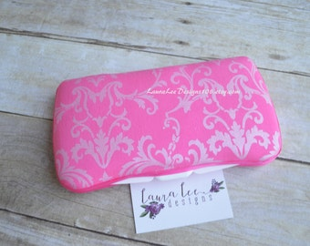 Elegant Pink Damask, Travel Baby Wipe Case, Diaper Wipes Case, Personalized, Monogrammed, Wipe Holder, Baby Wipe Clutch, Baby Shower Gift
