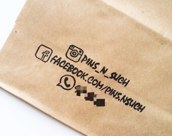 Customized 3 line information hand carved rubber stamp