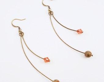 Crystal Nature - Unakite and Padparadscha Swarovski Crystal Earrings
