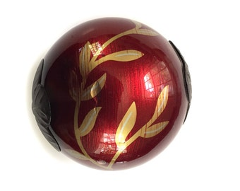 """Decorative Metallic Ball Pottery Ball, Clay Ball Sculpture, 4"""" Hollow Clay Orb Sphere with Metal Caps Cranberry 2"""