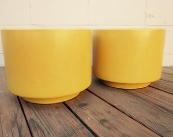 Set Gainey Pots   Pair TWO Mustard Yellow Gainey Ceramics Pottery Cylinder Container Pot Planter Garden Mid Century Modern Pair