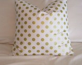 Back in stock, Metallic Gold White Dot Pillow Cover Christmas Pillow Cover 18 x 18 Our Best Seller
