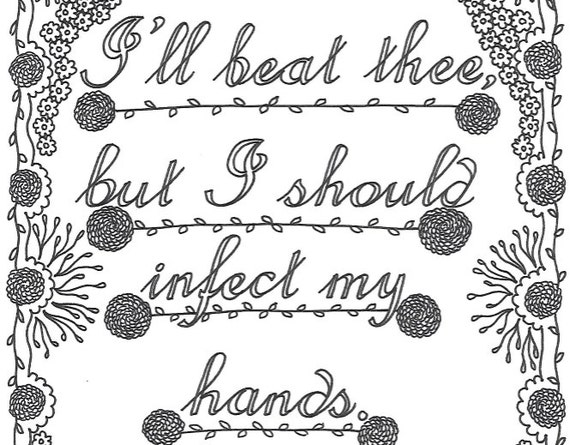 Shakespeare insults printable coloring