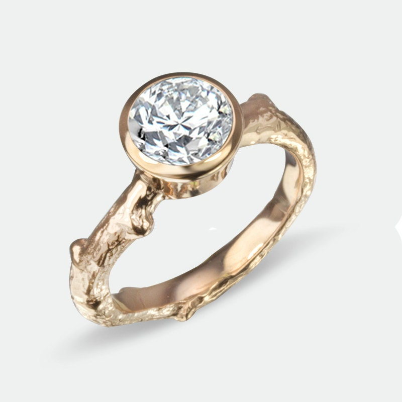 moissanite twig engagement ring tree branch rose gold round