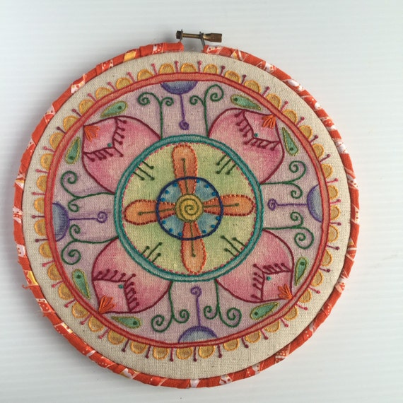 Colorful Mandala Hand Embroidered Hoop Art
