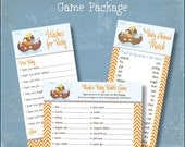 Baby Shower Game Package Set Noah's Ark Printable Baby Shower Games Wishes for Baby Baby Animal Match Baby Babble Game - INSTANT DOWNLOAD