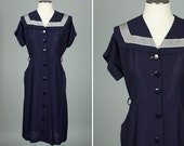 vintage 1940s dress NAUTICAL navy blue & white rayon