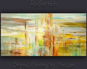 "Huge original Oil painting Modern deco Impasto Texture Abstract Painting by Tim Lam 48"" x 24"""