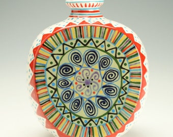 Ceramic Vase, Medallion Designs, Pottery Vase, Flat sided Flower Vase, Hand Painted Designs and Dots