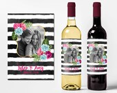 Custom Wine Bottle Labels Personalized Photo Wedding Favors Waterproof Printed Anniversary Gift Shower Wine Basket Engagement Party WB-1055