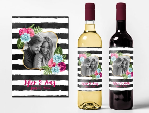 Personalized Wine Labels For Wedding Gift : Custom Wine Bottle Labels Personalized Photo Wedding Favors Waterproof ...