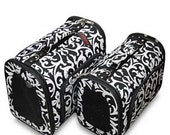 Large Black and White Damask Pet Carrier. Makes carring your pet very easy and your pet will be happy also Personalized FREE