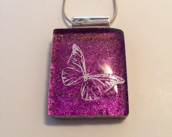 Handmade dichroic glass jewelry, Butterfly Dichroic Glass Pendant, Fused Glass Jewelry - Fused butterfly Dichroic Necklace- Dichroic Glass