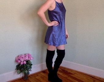 90's Simple Silky Blue Slip Dress