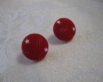 Red with White Stars Fabric Covered Earrings