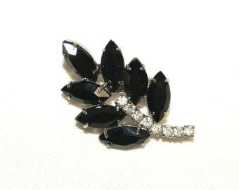 """Vintage Black Onyx Clear Rhinestone Leaf Brooch Pin-1 3/4"""" L x 1 1/8"""" W"""