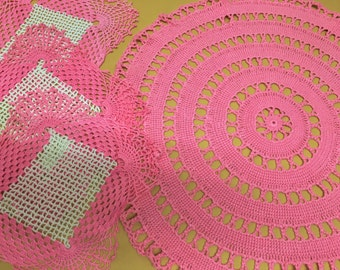 Mid-century Pink Doily Lot of 5 Circles and Squares Handmade