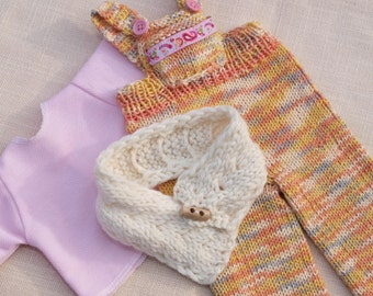 Waldorf Doll Clothes - Knitted overall , cotton T-shirt and scarf set ,  fit 18 - 19 inch dolls