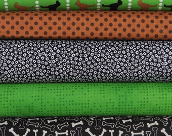 Pooches and Pickups Spring 5 Fat Quarter Bundle by Laurie Wisbrun for Robert Kaufman, 1 1/4 yards total