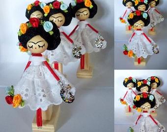 Frida Kahlo brooch, Miniature doll, Handmade doll