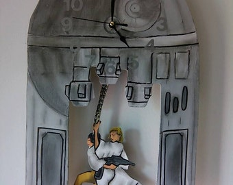Star Wars Luke and Leia swinging from Death Star