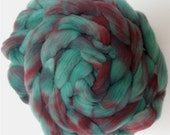 "Spinning Fiber Babydoll Southdown Wool for Spinning 4 Ounce Braid Combed Top Roving Teal Green and Maroon Fiber  "" Juniper "" (2 available)"