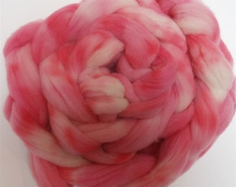 """Babydoll Southdown Wool for Spinning 2.5 Ounce Braid Combed Top Roving Pink Fiber  """" Pink Posy """""""