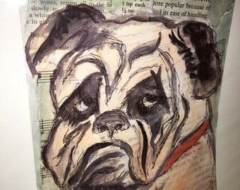 Original 9 by 12 photo on 15 by 18 paper print of original mixed media wrinkles the dog art bulldog art
