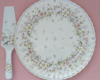 """Andrea by Sadek, Grace """"Exceed Bon"""", Floral Porcelain Cake Plate and Matching Server"""