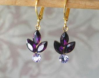 Amethyst Swarovski Rhinestone Earrings, Georgian Jewelry