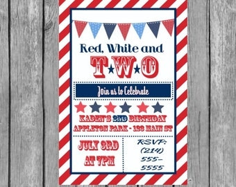 red white and two invitation - red white and two birthday party, red white and two invite, red white and two invitations, red white and two