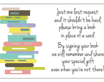 Bring A Book Insert - Printable Baby Shower Book Request -