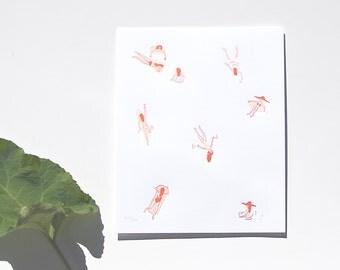 Letterpress Swimmers Art Print 8 x 10