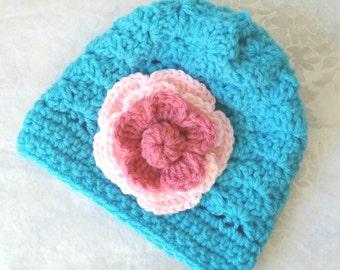 Girls Crochet Hat 0-3 Mos