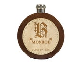 Custom Groomsman Engraved Round Flask - 5oz Brown- Personalized Groomsmen Gift - Mens Wedding Gift - Best Man - Bachelor Party Custom Flask