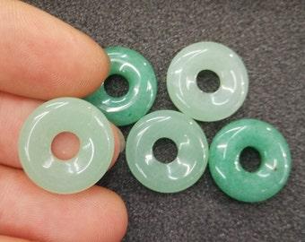 10pcs - 18mm Green Aventurine Donut Ring Beads  -6mm Big hole