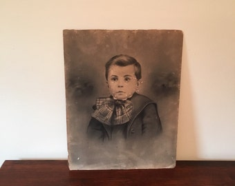 Large Antique black and white portrait of a child