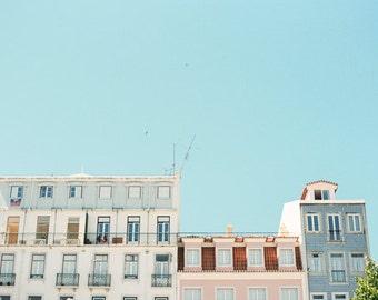 Lisbon Photography, Travel Photograph, Film Photography, Blue Sky, Architecture Print, Minimalist Decor, Romantic Travel Print, Pink House