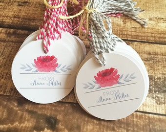 Flower Personalized Tags, Shop Business Tags, Personalized Gift Tag | Round Circle Tags, Bundles of 25 - Watercolor Bloom Personalized Tags