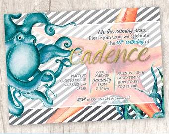 Octopus Under the Sea Birthday Party Invitation, Chic Ocean Beach Party Invite, Starfish Invitation - DiY Printable || Cadence of the Sea