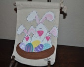 Small Spring Bunnies Gift Muslin Hand Painted Gift Wrap Treat Bags