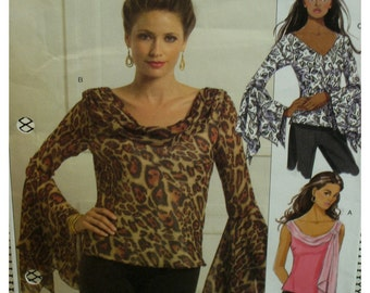 Bias Cut Tops, Fitted, Long Sleeves, Sleeveless, Swag/V-Neck, Sleeve Flounce, Neck Tie, Butterick No. 5138 UNCUT Size 8 10 12 14