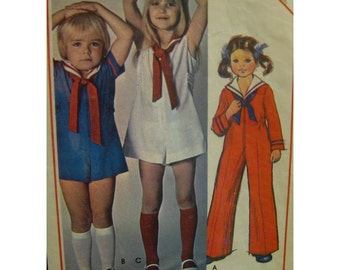 70s Child's Sailor Jumpsuit Pattern, Romper, Zipper Front, Long/Short Sleeves, Collar, Tie, Sides Tabs, McCalls No. 5480 Size 3