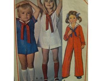 70s Child's Sailor Jumpsuit Pattern, Romper, Zipper Front, Long/Short Sleeves, Collar, Tie, Sides Tabs, McCalls No. 5480 Size 3