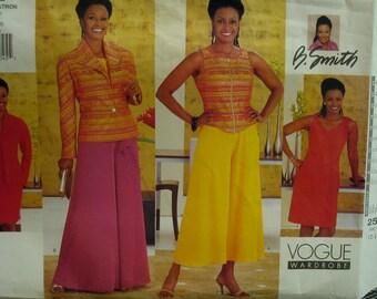 WIde Leg Pants Pattern, Zipper Front Vest, Fitted Dress, Flip Collar Jacket, Culotte, B. Smith Design, Vogue No.2522 UNCUT Size 12 14 16